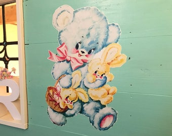 41 cm's vintage style wall stickers bear # 002
