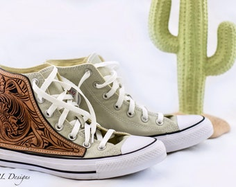 Custom Hand Tooled Converse Classic Chucks