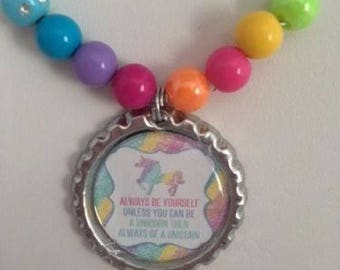 LULAROE always be a Unicorn BOTTLECAP pendant Jewelry NECKLACE/consultant give aways/hostess gift