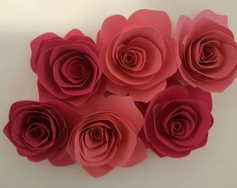 3D ROSES ANY COLOR 6 Pieces--Bridal Shower--Garland--Any Color--4x4--Birthday-Vintage Theme-Baby Shower