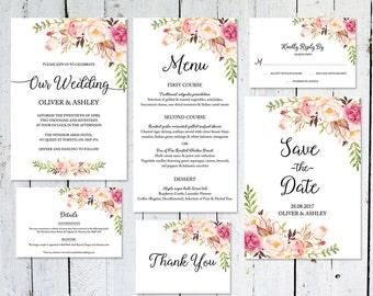 Wedding Invitation Set, Boho, Save The Date, Floral, Watercolor, RSVP Card, Details Card, Printable Invitation, Wedding Suite, Menu