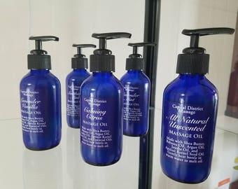 Massage Oil, Shea Butter, Argan Oil, Jojoba Oil, Lavender, Mint, Citrus, Vanilla, Unscented