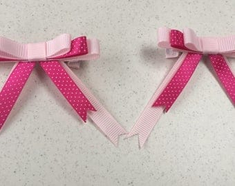 3 layer bow with tails hair clips. Girls accessories.