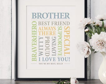 Christmas Gift for Brother Birthday Gift for Brother Wedding Gift for Brother Brother Gift Brother Sign Big Brother Gift Brothers Wall Art
