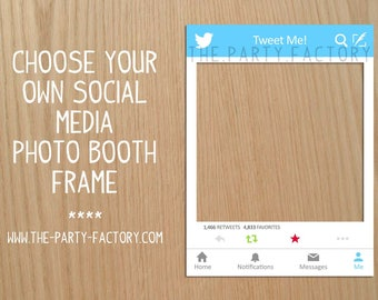 Social Media Photo Booth Frame, Instant Download, Printables, Photo Booth, Digital Design, PDF File