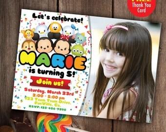 Tsum Tsum Invitation, Printable Tsum Tsum Party, Tsum Tsum Birthday, Tsum Tsum Invite, Disney Tsum Tsum Birthday Decoration