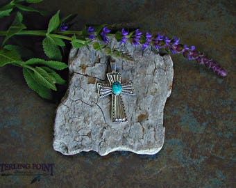 Sterling Silver Cross Santa Fe style with Turquoise Gemstone. Bold, striking, beautiful gift of silver