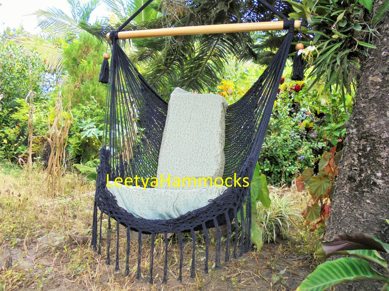 Black Chair Hammock Hammock Chair Macrame By Leetyahammocks