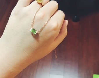 high quality emerald-cut peridot/ olivine clavicle chain necklace,plated rose gold, sterling silver, delicate necklace, August birthdaystone