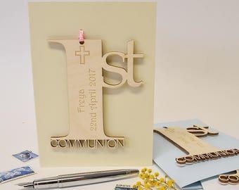 Personalised 1st Holy Communion Card - Communion Card - Personalised Communion Card - 1st Holy Communion - Religious Keepsake Card