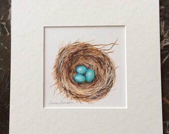 Robin's Eggs Print, Robin's Nest Print, nest painting, family of five, family, siblings, triplets, woodland nursery, family room wall decor