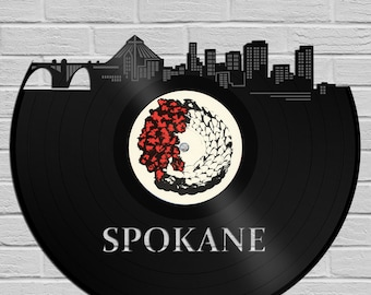 Spokane Skyline Art, Washington State Cityscape, Unique Modern Art, Cool Wall Decor, Personalized Gift, Vinyl Decor, Record Vinyl Decoration