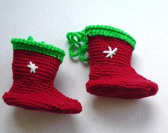 Crochet Christmas gift boot, 1 piece small boot, Christmas tree decoration,