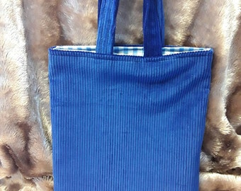 Childrens blue corduroy fabric shopping bag and matching coin purse.