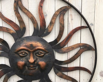 Metal Wall Art Sun Burst Decor, Home & Garden, Living Room, Round Circle Decor,Accents, Wall Hangings, Gold Red, Improvement, Furnishings