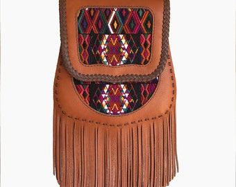 Leather bag, Crossbody bag, Shoulder bag, Fringe bag, Genunine leather bag, Tassel bag, Guatemalan Textile