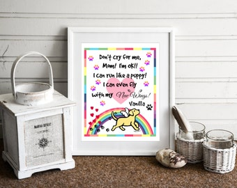Dog Memorial Gift, Personalized Yellow Labrador Memorial Artwork, Yellow Labrador Angel Print, Rainbow Bridge Art -- Yellow Labrador Angel
