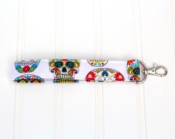 Wrist Strap Key Ring - Sugar Skull Keychain - Sugar Skull Car Accessories - Skull Keychain -New Driver Gift  -Keyfob Wristlet -Wrist Lanyard