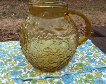 Anchor Hocking ball pitcher harvest gold