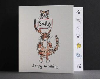 Cat Birthday Card, Cats Birthday Card, Birthday Cats Card, Cat Card, Personalised Cat Birthday Card. Please read item details.