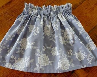 Girls Skirt, Girls Clothing, Girls Twirling Skirt, Girls Summer Seperates, Paperbag Skirt, Pastel Blue