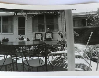 Vintage Photo Retro Patio Snapshot Black and White Dated May 1958