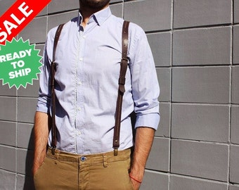 Sale Leather suspenders, men's suspenders, brown leather braces, wedding suspenders, mens braces, handmade suspenders men