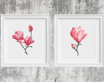 Flower Cross Stitch Pattern Magnolia Set 2 in 1 Printable PDF  Watercolor Floral Embroidery Chart Counted Xstitch Birthday Diy Gift Wall Art