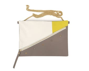 Bordeaux white yellow taupe leather pouch
