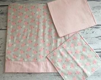3 Piece Baby Gift Set - Recieving Blanket, Burp Cloth, Wash Cloth, Pink, Birds, Gray, Adorable