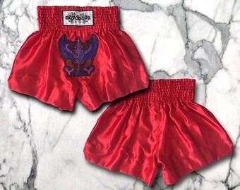 Striking Red Muay Thai Shorts with Garuda - Customizable - Size L
