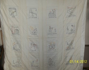 old testament embroidered quilt