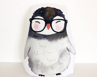 Hipster Penguin Pillow, Nursery Pillow, Kids Gift, Hipster Nursery, Baby Shower Gift, Plush Penguin, Hipster Kid, Kid Gift, Kid Room Decor