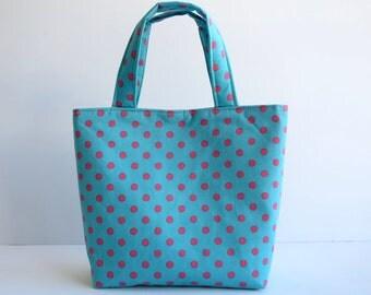 Girl's Bag, Mini Tote Bag, Kids Bag, Handbag for Girls, Turquoise with Pink Polka Dots, Little Bag for Girls, Polka Dot Bag, Turquoise Bag