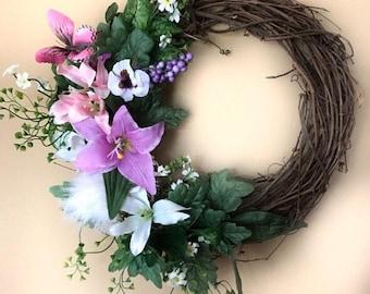 Flower spring wreath, flower wreath, spring, summer wreath