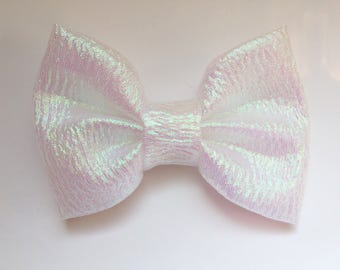 BIG White Iridescent Bow, baby hair bows, baby hair clips, headbands, baby girl, white bows, hair clips