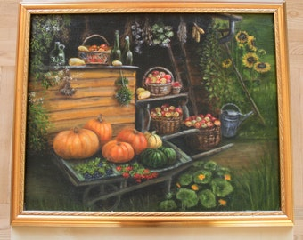 Pumpkin - original oil painting, 40x50 cm,green, autumn, fall, art, drawing, illustration
