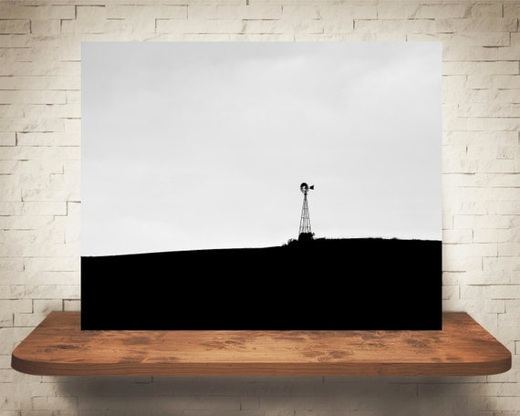 Windmill Photograph - Fine Art Print - Black & White Photography - Wall Art - Farm Pictures - Farm House Decor - Country - Neutral Decor
