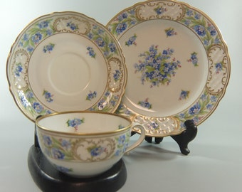 "Schumann Bavaria ""Forget Me Not"" Trio, Cup, Saucer and Small Plate, Made in Germany"