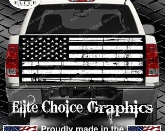 Black and White Distressed American Flag Truck Tailgate Wrap Vinyl Graphic Decal Sticker Wrap
