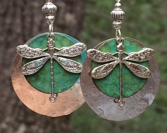 Unique dragonfly earrings, hammered metal, Silver dragonfly earrings, unique dragonfly earrings, patina