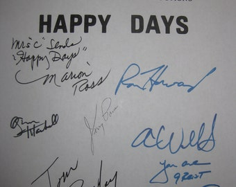Happy Days The Lemon signed TV Script Screenplay Autograph x9 Ron Howard Henry Winkler Marion Ross Garry Marshall Tom Bosley Don Most Paris