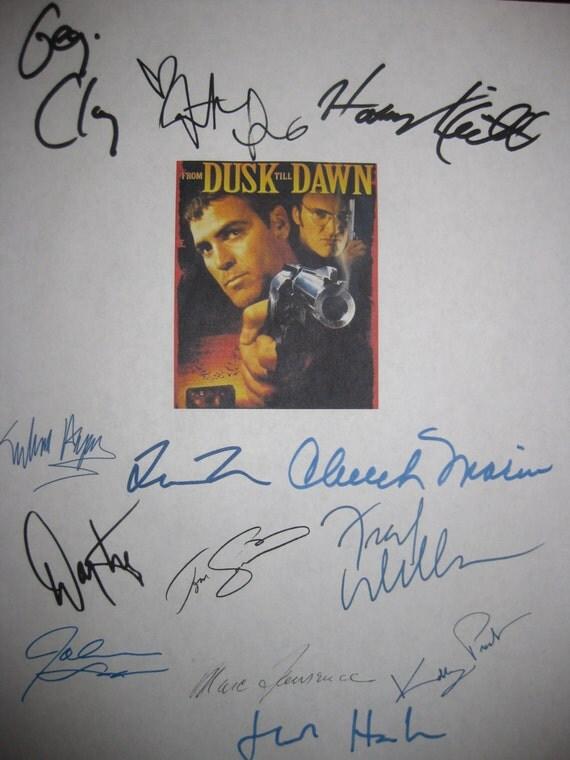 From Dusk Till Dawn Signed Film Movie Screenplay Script X13 Autograph Geroge Clooney Quentin Tarantino Salma Hayek Harvey Keitel Tom Savini