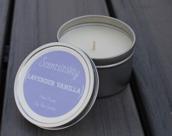 Lavender Vanilla Hand Poured Soy Wax Candle 8oz.