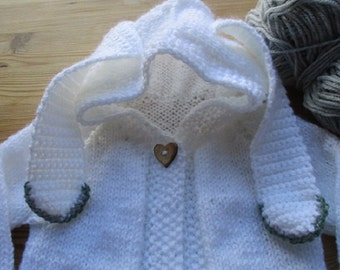 Baby rabbit hoodie, long-eared bunny coat, baby jacket, baby top with ears, unisex baby shower gift, baby knit, baby clothes, baby knitwear