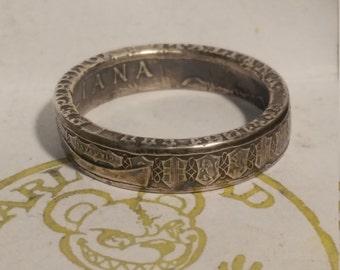 Silver .835 Italian 500 Lire coin ring