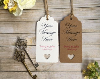 Your personalised message!  Beautiful vintage skeleton key wedding favour tags!!  Elegant, fun and fully customisable! (+ FREE SHIPPING!!)