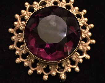 """Antique Edwardian Faceted Glass Amethyst  Pin  1.25"""""""