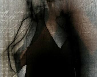 Original Abstract Portrait. Male Silhouette 'screaming'. Black and White Figurative Dark Art. Contemporary Fine Art. Drexll Studios.