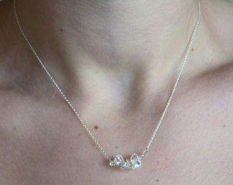 Silver Minimalistic necklace with Mountain Crystal